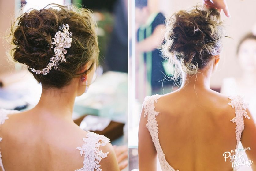 This elegant airy bridal hairdo with a touch of glam is so gorgeous and charming!