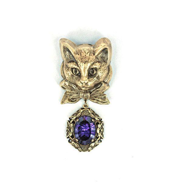 cat brooch cat jewelry vintage victorian filigree brooch animal jewelry fantasy mystic quartz victorian brooches and cat