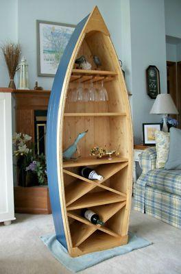 6 ft boat wine rack glass holder knotty pine canoe bookcase shelf