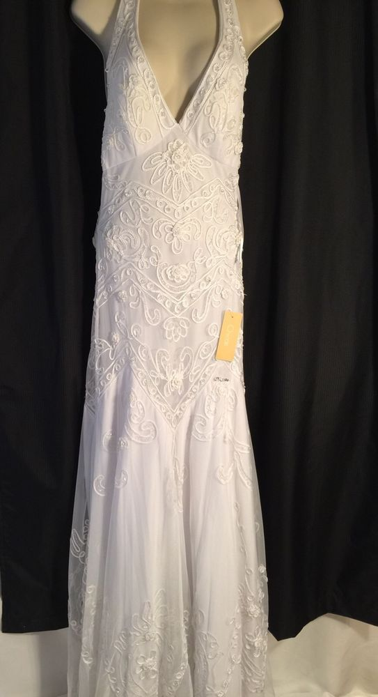 Chicas Formal Tulle Prom Wedding Dress Halter Gown Size Xs White