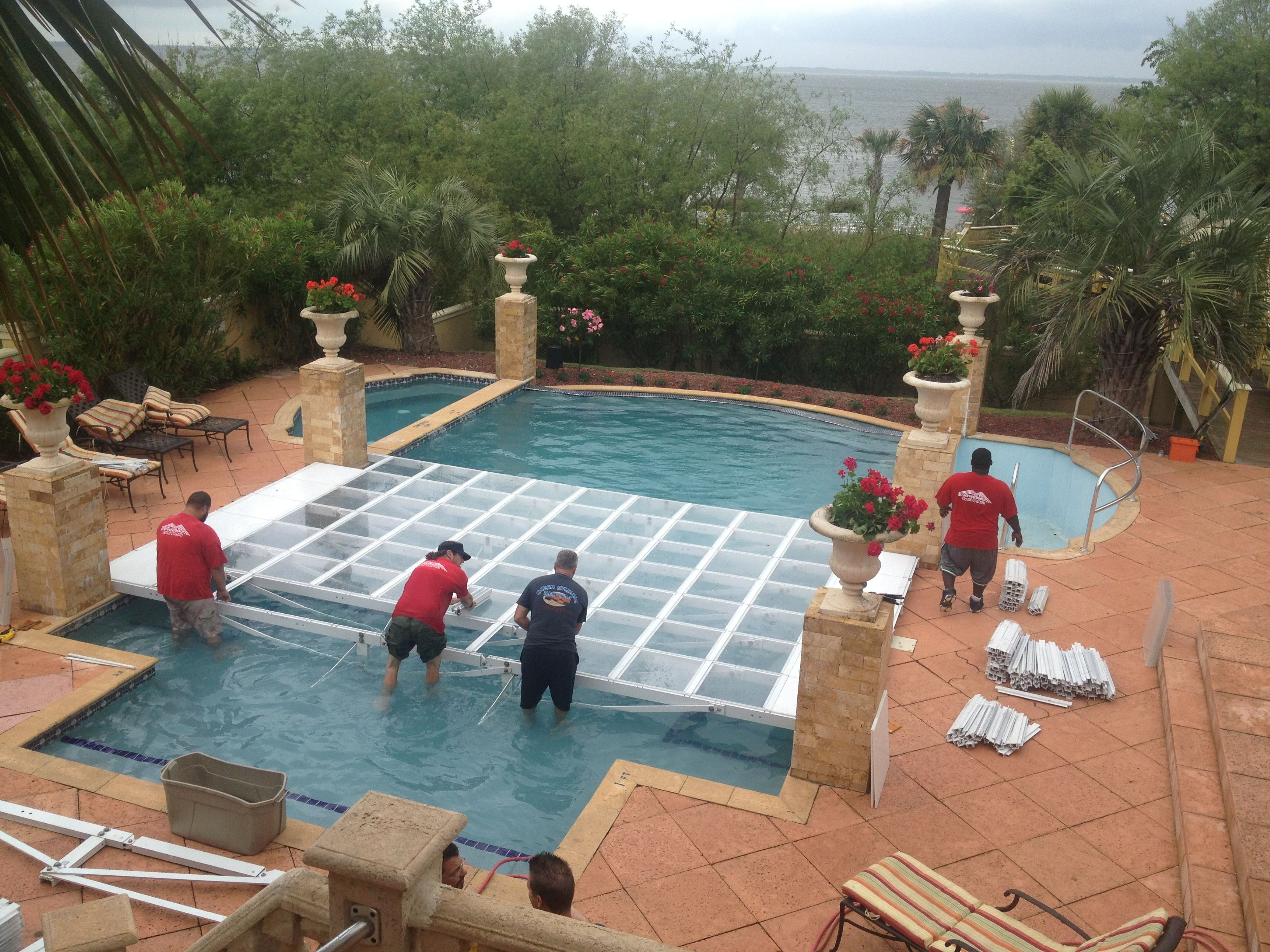 Pool Cover In Progress At The Grand Ritz Palm Our Event Crew Really Knows How To Go Above And Beyond To Make Your Swimming Pool House Pool Cover Pool Wedding