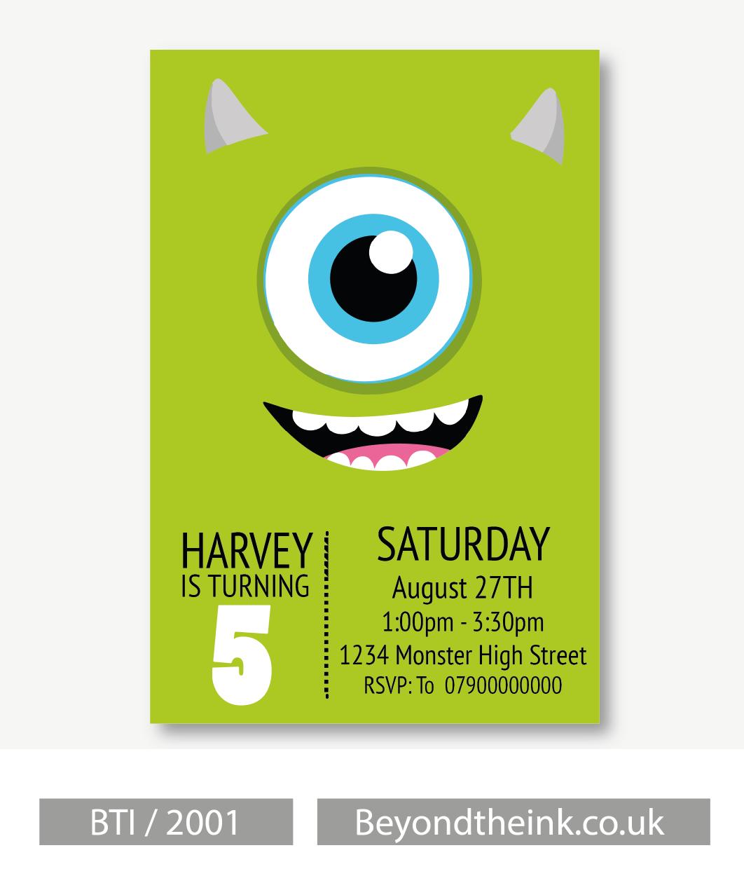 Personalised Monsters Inc Mike Wazowski Invitations Printed on