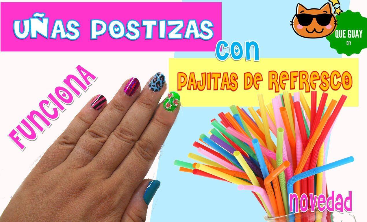 ♥ Haz uñas postizas caseras con pajitas de refresco ♥ FUNCIONA ...