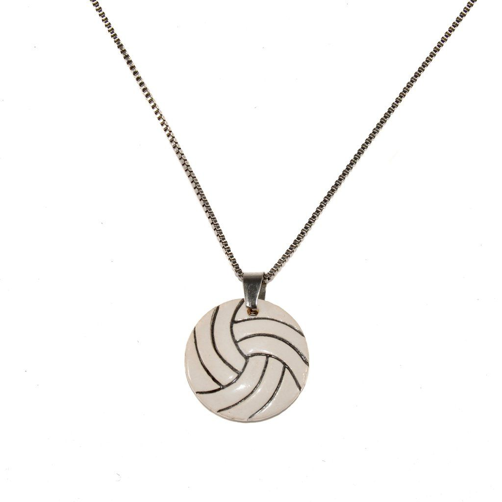 Ceramic Volleyball Necklace Volleyball Necklace Volleyball Jewelry Necklace