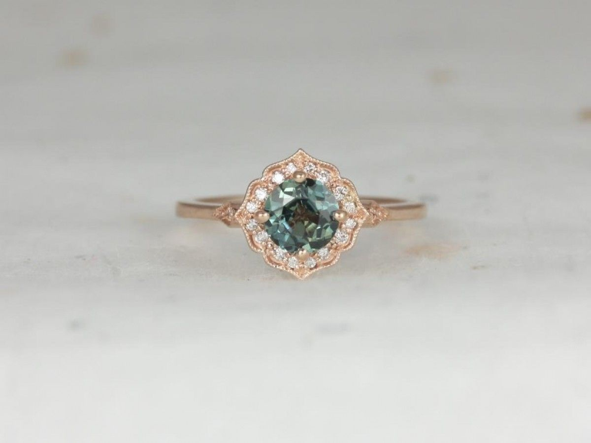 f7f293d900891 Rosados Box Ready to Ship Lily 0.94cts 14kt Rose Gold Ocean Teal ...