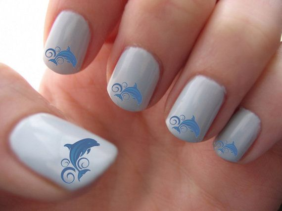 Blue Dolphins Nail Art Water Slide Transfers by RockinNails - Blue Dolphins Nail Art Water Slide Transfers Manicure Nail