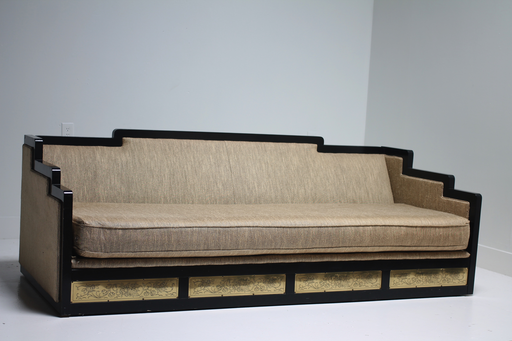 Black Lacquer Asian Sofa By Schweiger   Upholster In Hot Pink Like Kelly  Wearstler Or Another