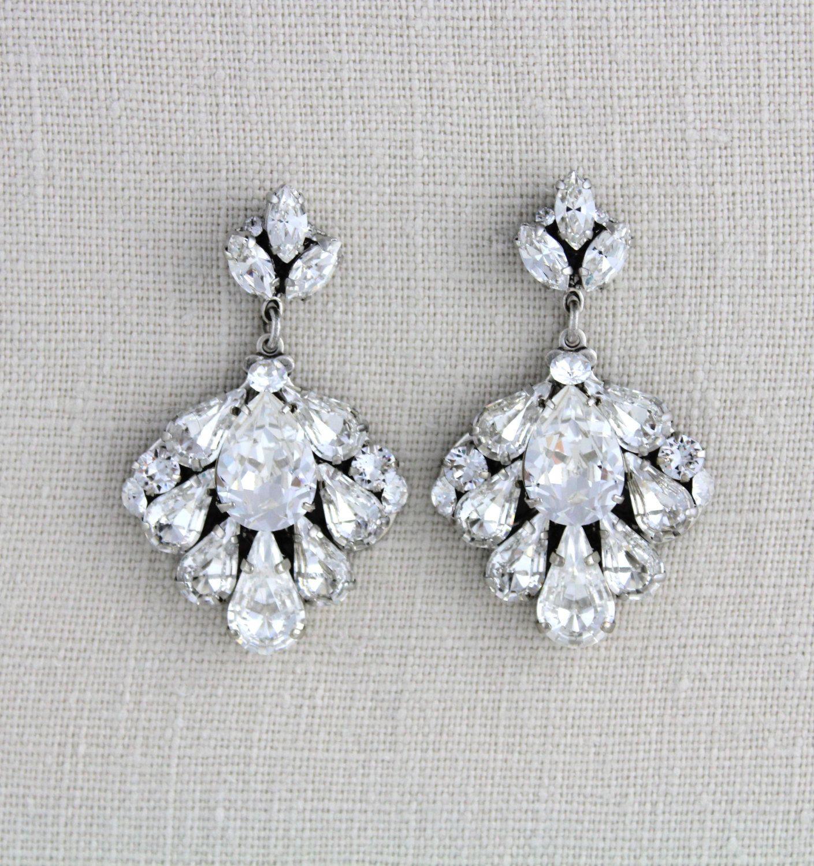 Crystal Bridal Earrings Wedding Jewelry Swarovski Vintage Style Chandelier