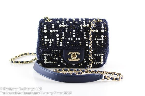 d5961da71435 Chanel Mini Cosmos Tweed And Faux Pearl Navy Flap 2018