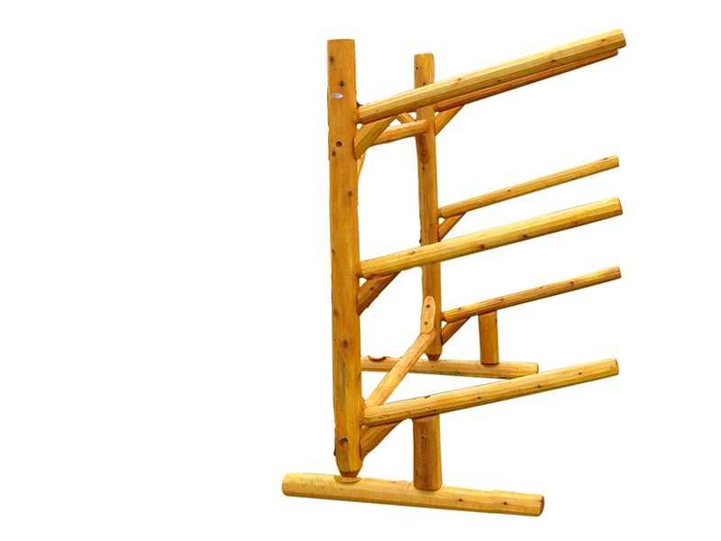 The 3 Place Single Sided Free Standing Kayak Storage Rack Is Made Of  Northern White Cedar Logs. Call Log Kayak Rack Today At 1