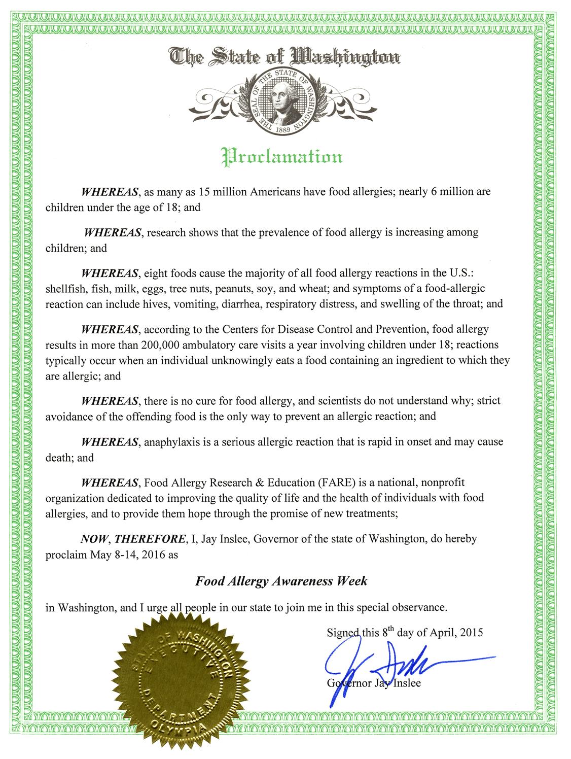 Washington State Proclamation For Food Allergy Awareness Week  Washington State Seattle Music Things
