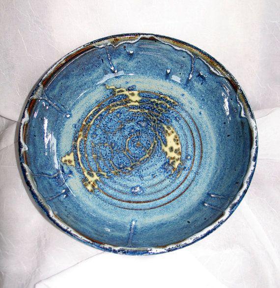 Sea Turtle Pie Plate Wheel Thrown by rikablue on Etsy, $48.00