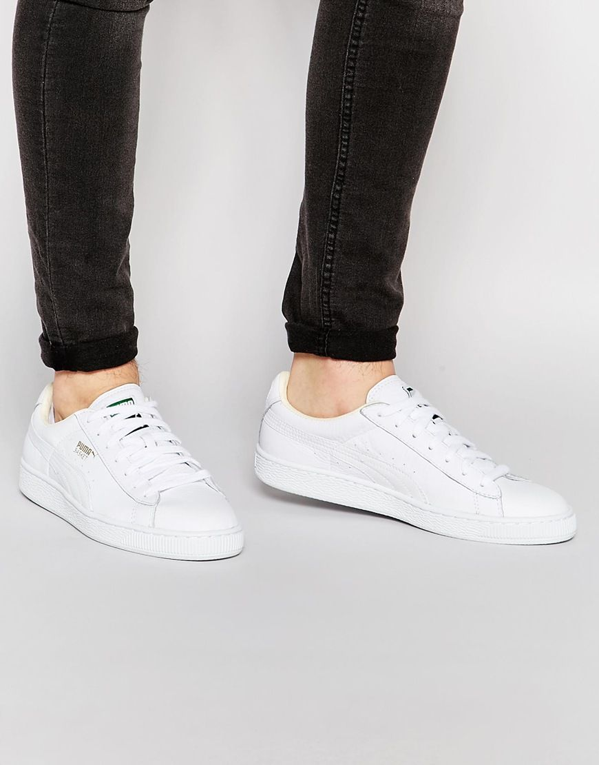 ed1e6cc184c Look sexy with this Puma Basket Leather Trainers - White - http   www