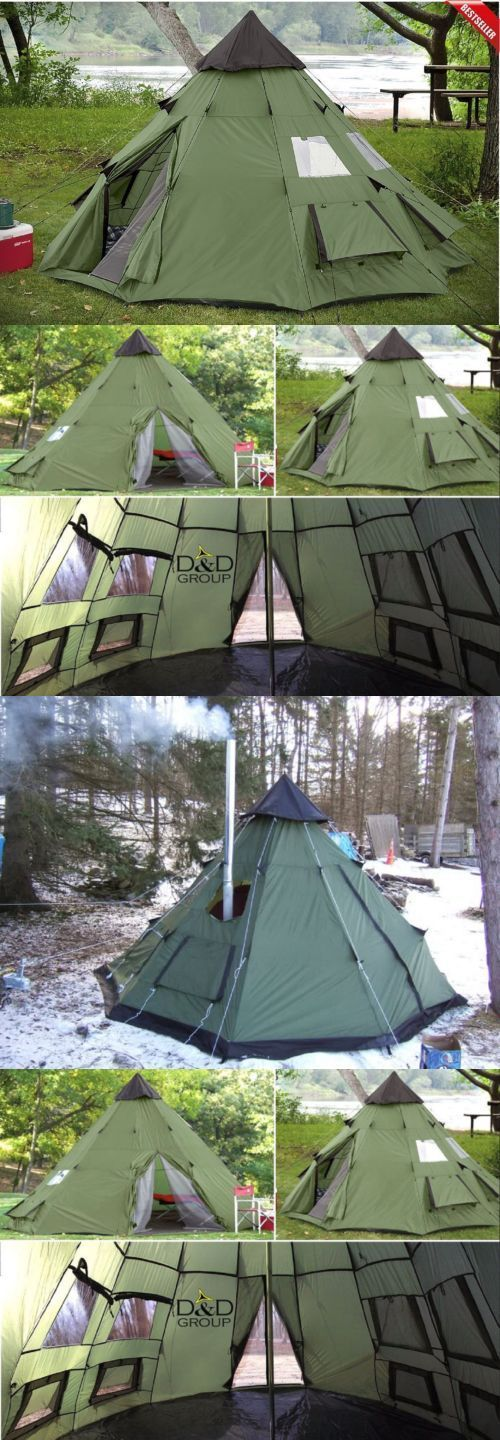 Tents 179010 Teepee Tent 6 Person Family C&ing Military Hiking Outdoor Survival Green New -u003e BUY IT NOW ONLY $136.64 on eBay! | Pinterest | Teepee tent ... & Tents 179010: Teepee Tent 6 Person Family Camping Military Hiking ...