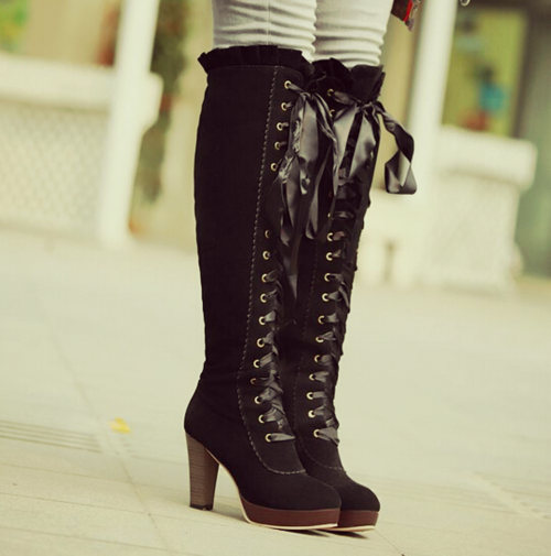 High Lace-up Platform Boots from Hipster Space