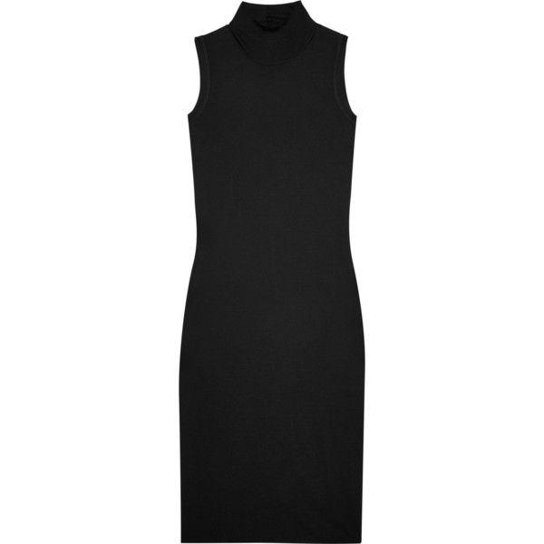 Rick Owens Jersey turtleneck dress ($315) ❤ liked on Polyvore featuring dresses, turtle neck dress, turtleneck top, slip on dress, rick owens dress and grunge dress