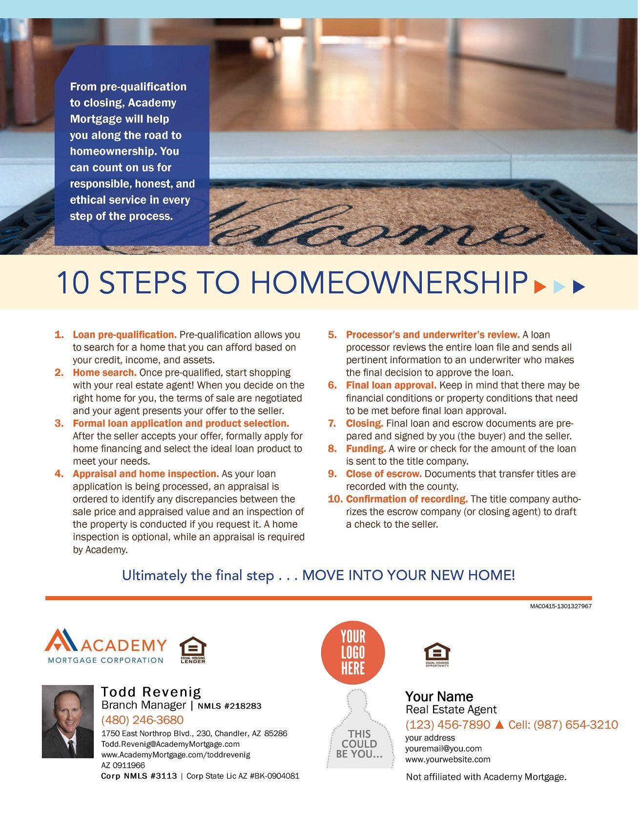 10 Steps To Homeownership Loan Officer Loan Marketing Plan