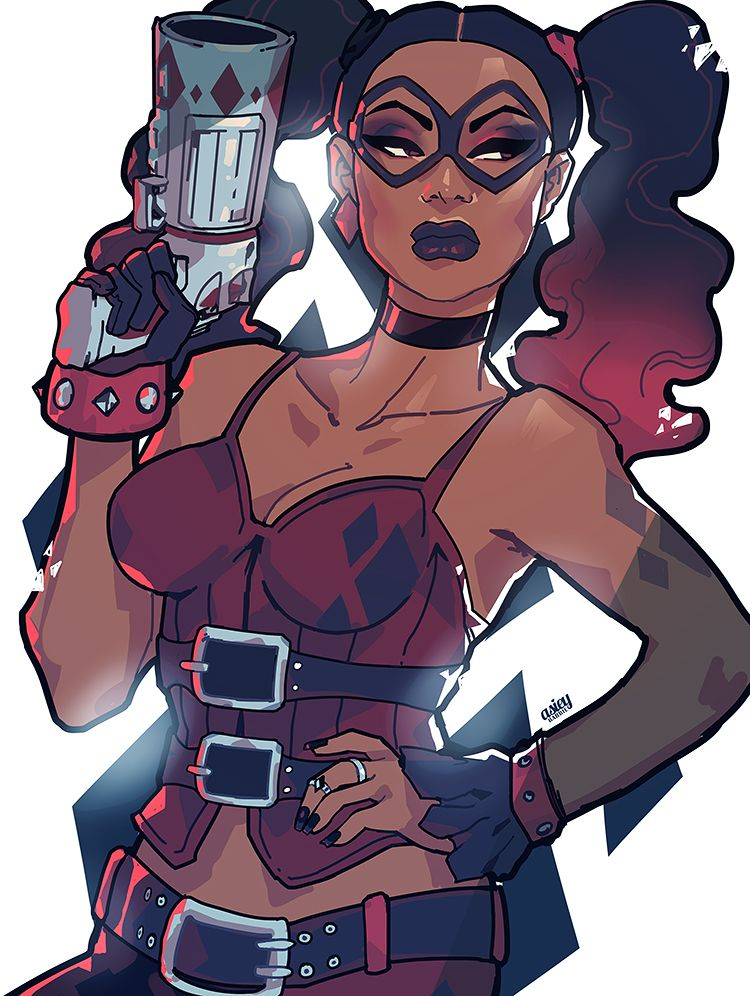 """""""so basically, femburton inspired this. Black Harley Quinn """" 2014 is trash except for this post """""""