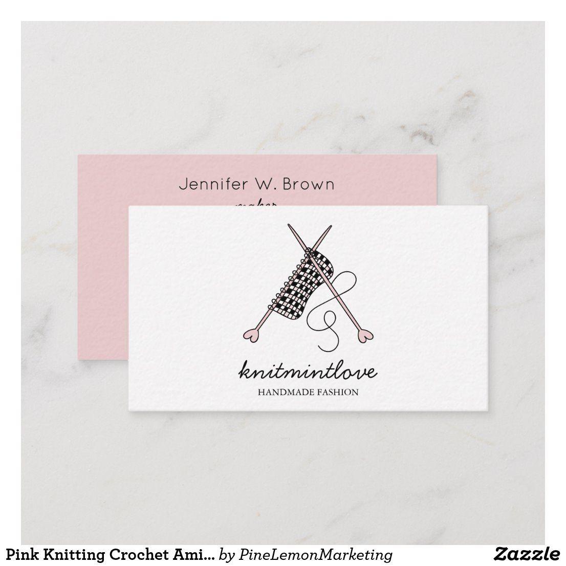Pink Knitting Crochet Amigurumi Maker Business Card Zazzle Com Knitting Business Fashion Business Cards Crochet Business