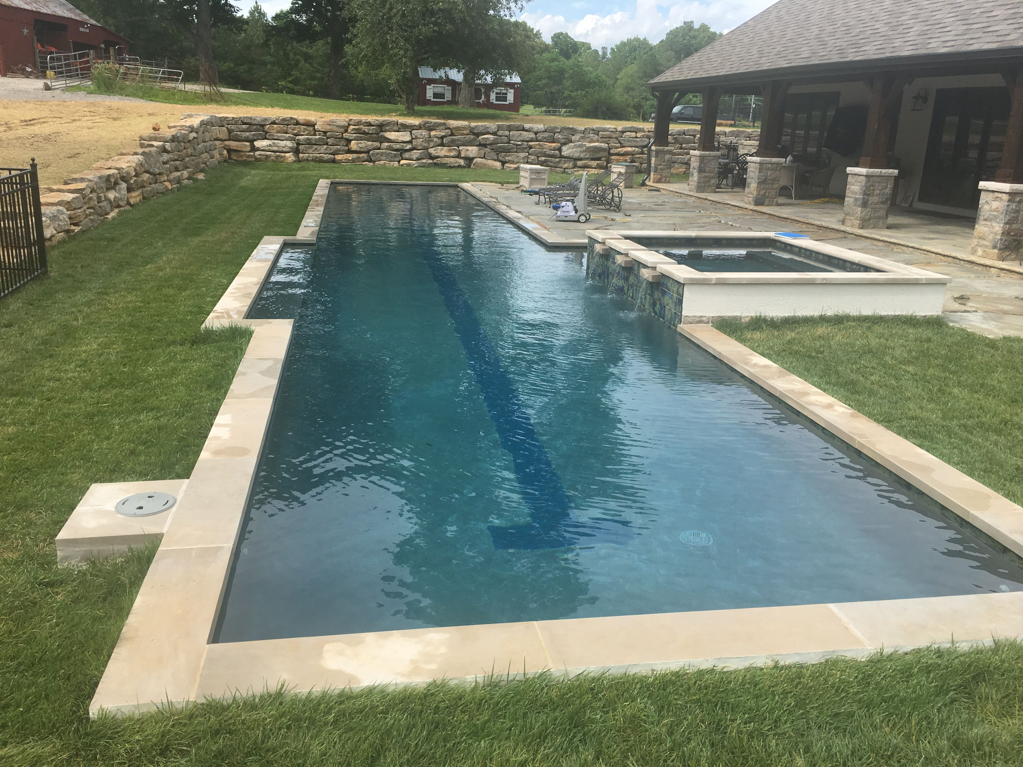 Fantastic Backyard Lap Pool With Spa 25 Yards Built By Absolute Pools In Nashville Lap Pools Backyard Backyard Pool Lap Pool Designs