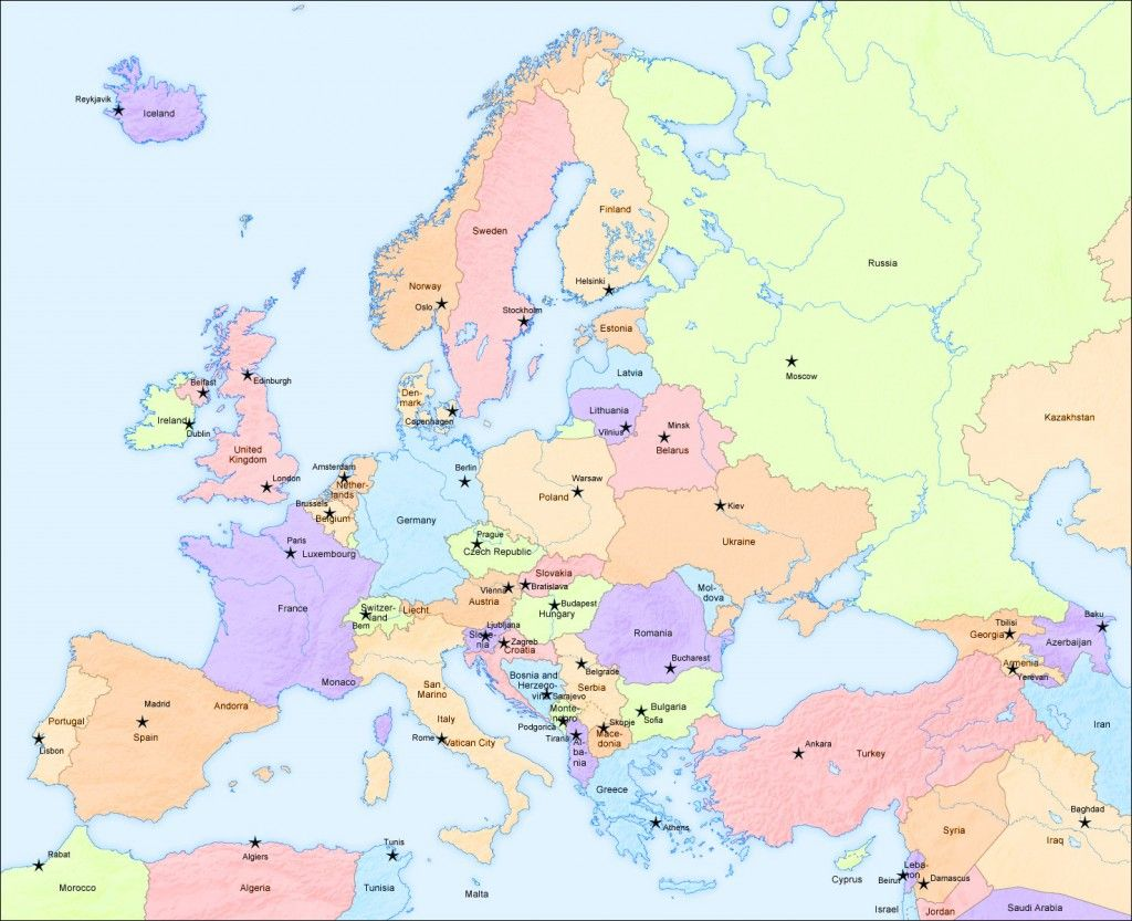 Big Map of Europe and capital cities | Africa map, Country ...