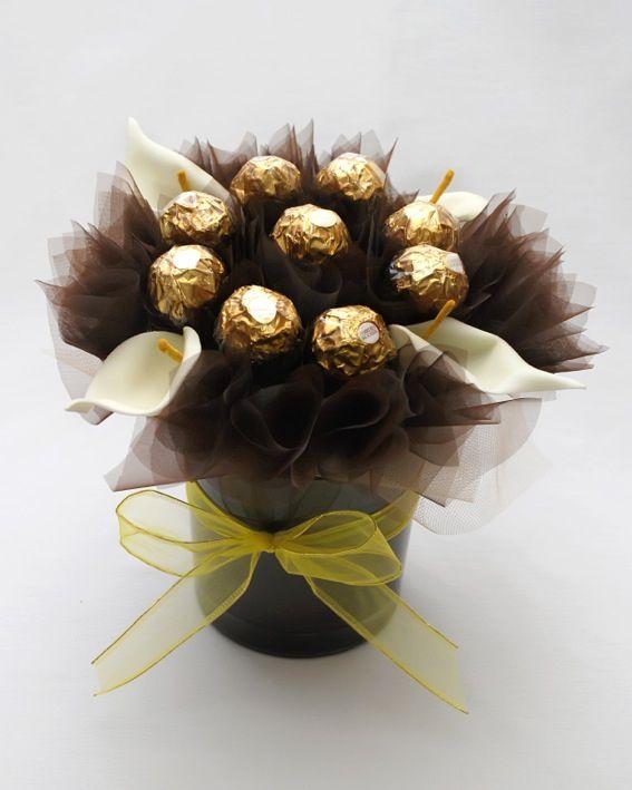 Hand made Buchet ciocolata-ghiveci Chocolate bouquet - pot