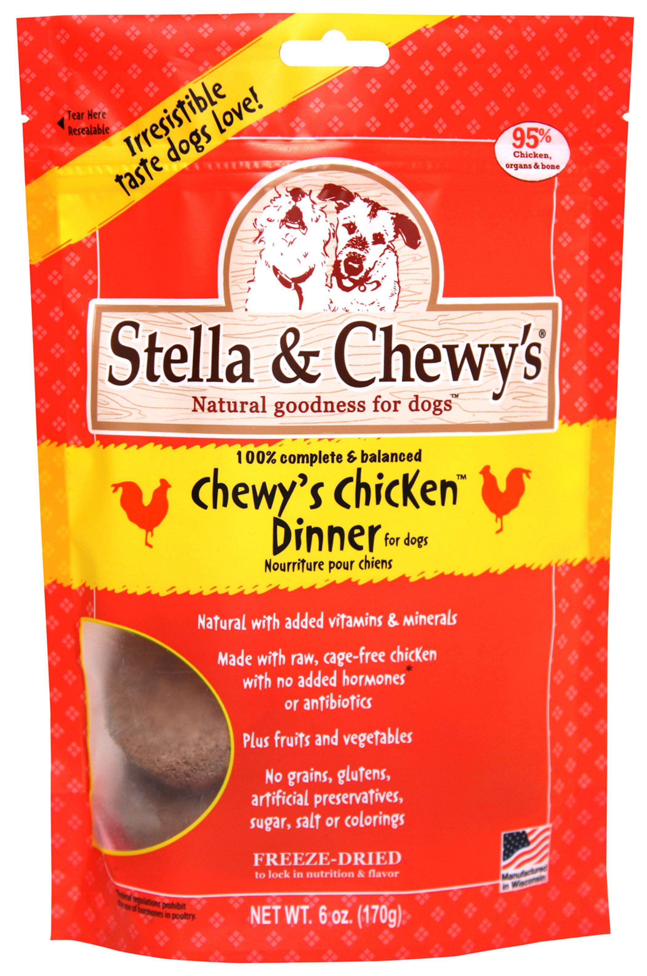 Chewys chicken dinner freeze dried patties raw dog food