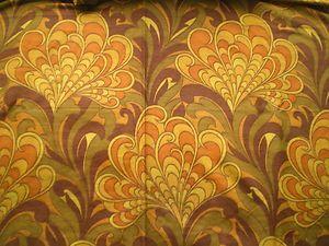 Vintage 1970s Cotton Mix Basket Weave Fabric Abstract Yellow Orange Plants | eBay
