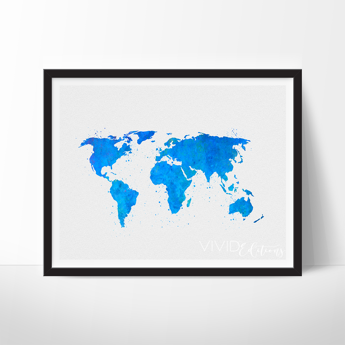 World map blue watercolor art print big box store wall pops and world map blue watercolor art print gumiabroncs Images
