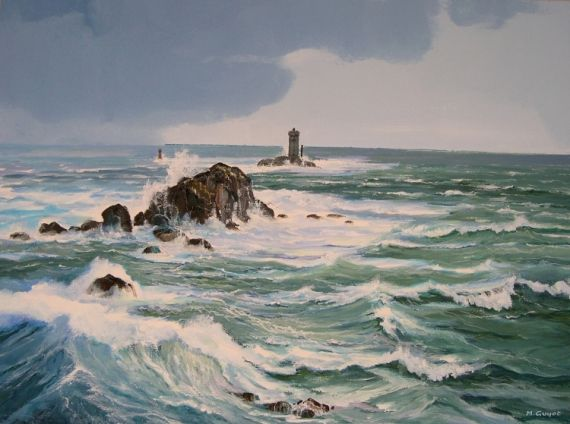 tableau peinture bretagne mer pointe du raz phare marine. Black Bedroom Furniture Sets. Home Design Ideas