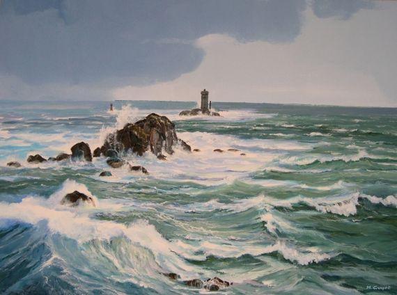 Ultra TABLEAU PEINTURE Bretagne mer Pointe du Raz Phare Marine Gouache AF-83