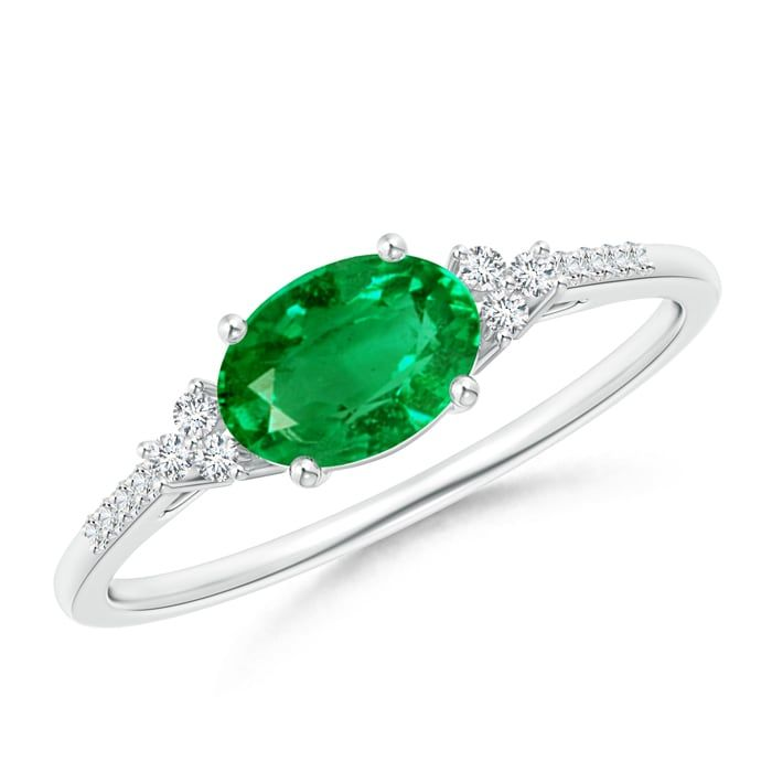 Angara East West Emerald-Cut Emerald Solitaire Ring with Diamond Accents hYg2kBjF
