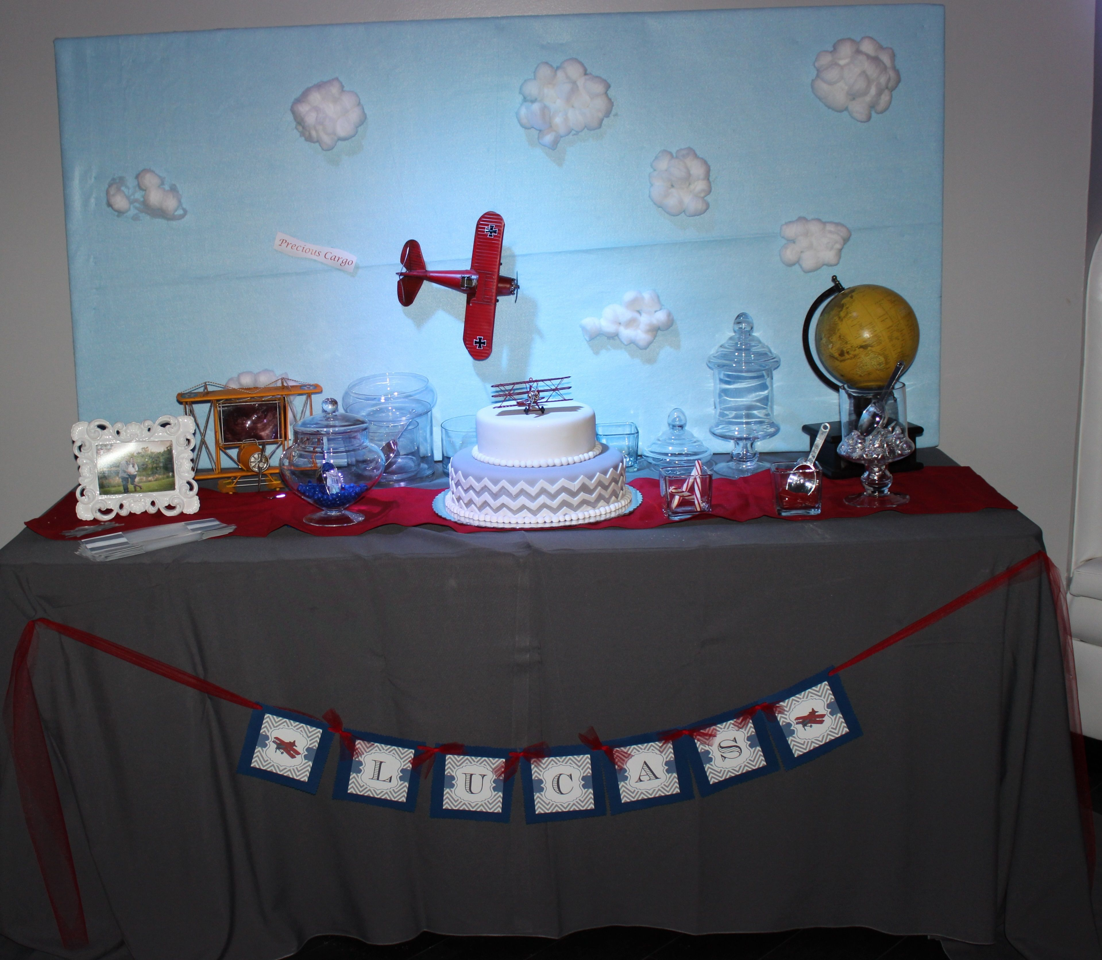 Vintage Airplane Baby Shower sweets table