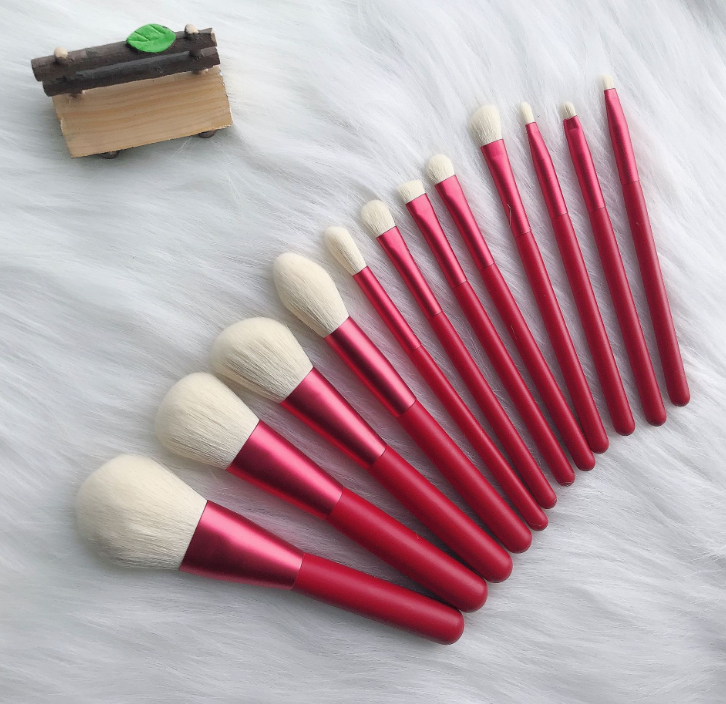 Soft hair 12 piece makeup brushes set available wholesale