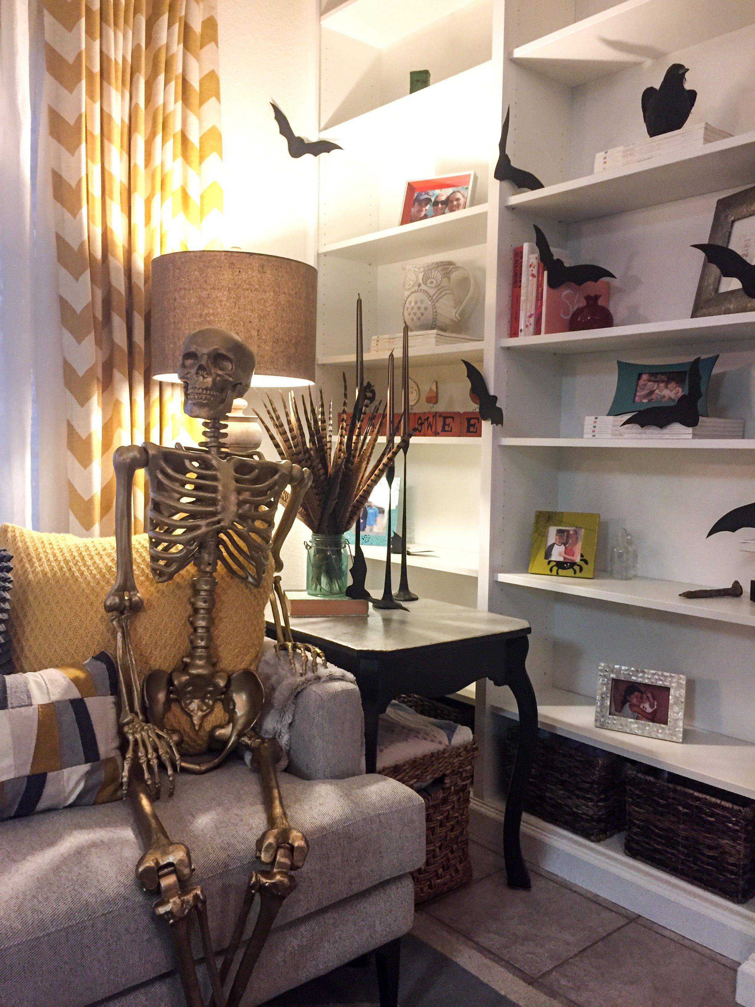 paper bats gold skeleton halloween built in bookshelves rh pinterest ca