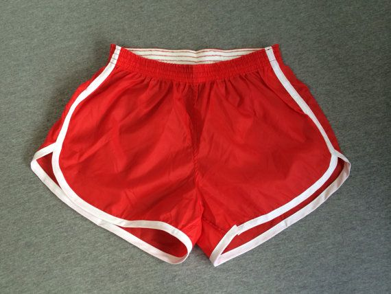 5df612f260 80's NYLON SHORTS Vintage Originals/ UNWORN by sweetVTGtshirt red white