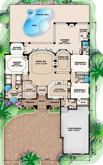 Plan 66226WE: A True Great Room House Plan | House, Master bedroom ...