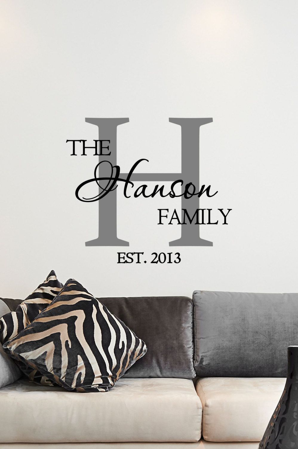 Monogram Wall Art custom family name & monogram vinyl decal - monogram vinyl wall