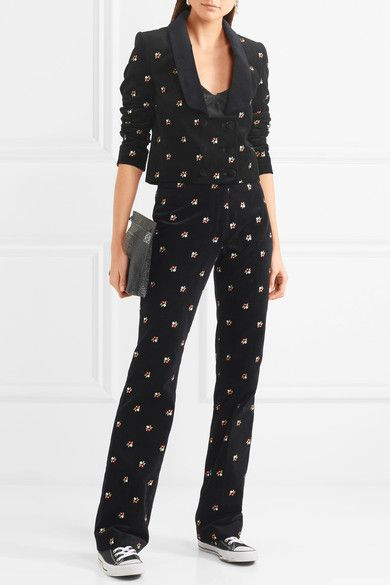 Embroidered Cotton-velvet Straight-leg Pants - Black AlexaChung oPFs4H