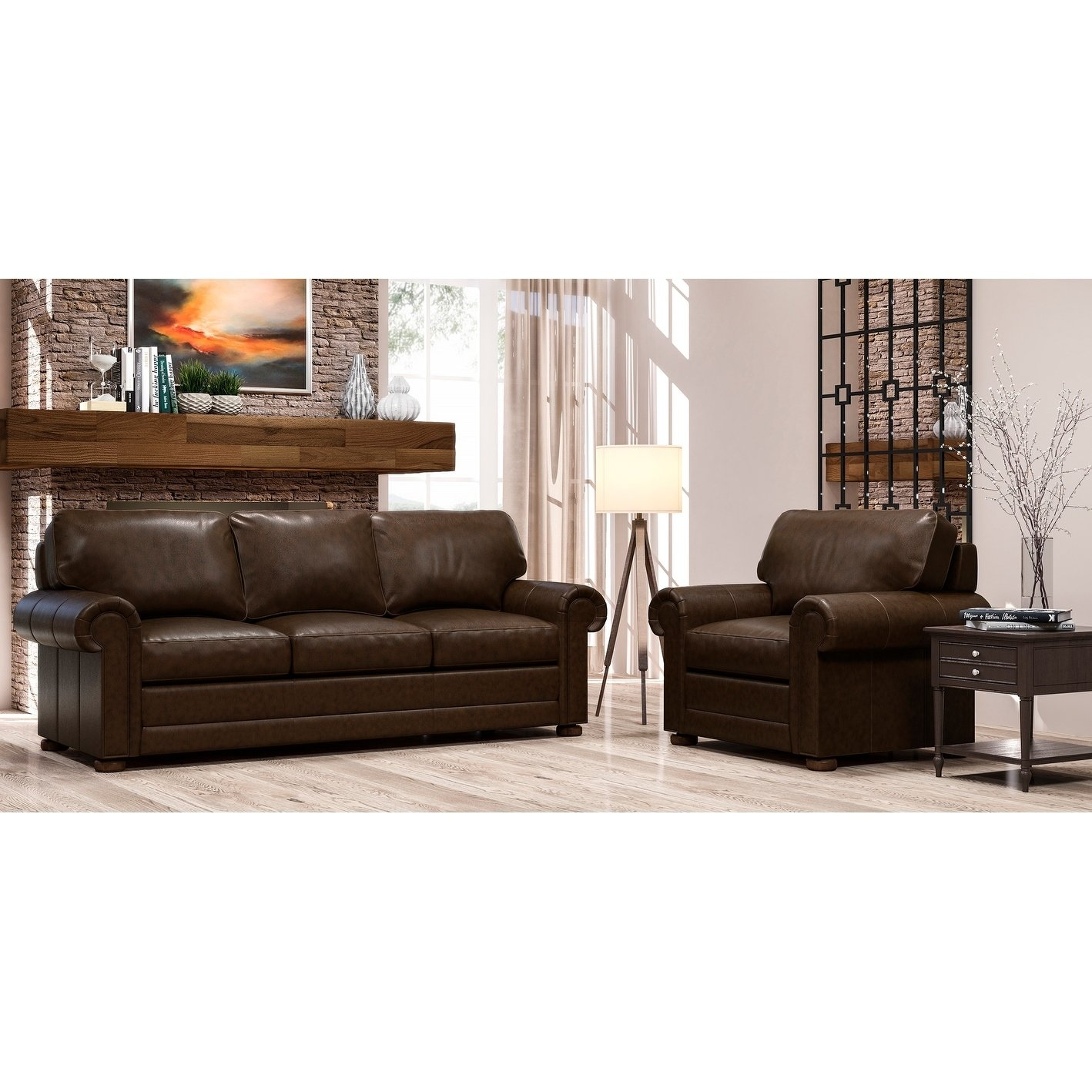 Top Grain Leather Sofa And Chair Set