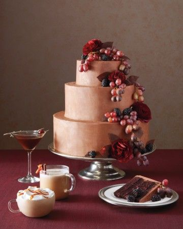 Treat your guests to a trio of sinful sips and a luscious chocolate-and-blackberry-jam layer cake that will have everyone craving a second slice. To drink? An espresso martini with espresso, vanilla vodka, hazelnut liqueur, and a bourbon-soaked cherry on top; orange-spice coffee with rum, Grand marnier, coffee, cream, melted chocolate, and a cinnamon stick; and salted caramel mocha with espresso, chocolate liqueur, whipped cream, and caramel sauce.