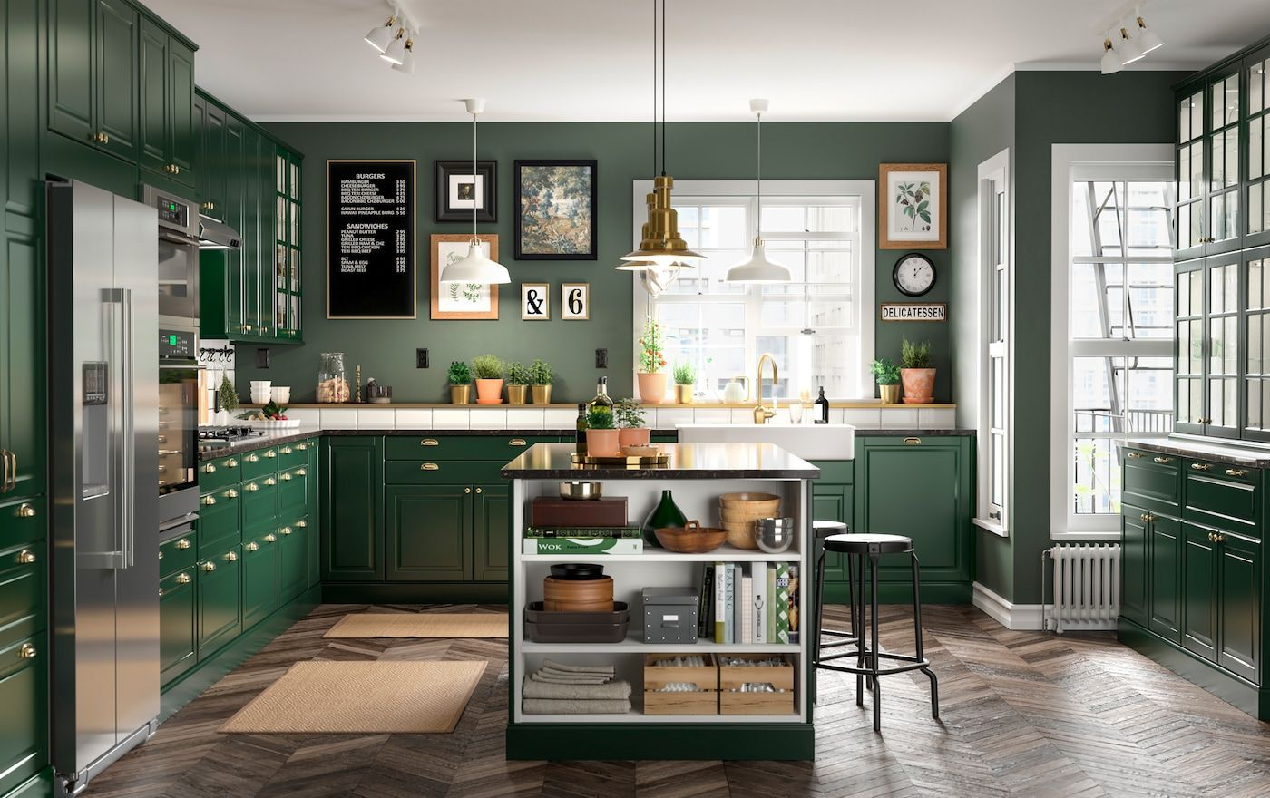A green and fresh BODBYN kitchen in 2020 Ikea kitchen