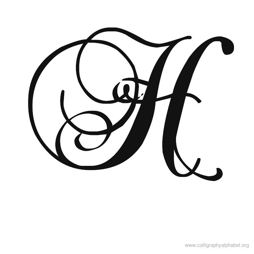 Calligraphy Alphabet Romantic H