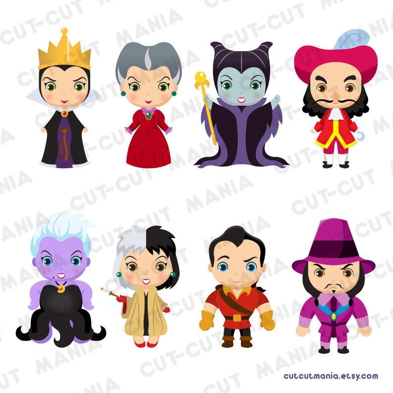Disney Villains Cliparts Cute Villains Clip Arts Fairytale Etsy In 2020 Disney Villains Disney Villains Art Clip Art