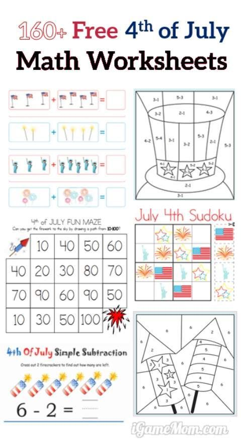160+ Fourth of July Printable Math Worksheets | Free math, Printable ...