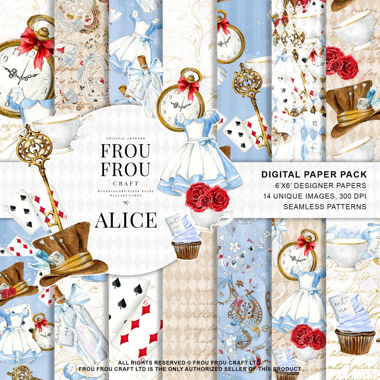 Alice In Wonderland Paper Pack Alice Digital Paper Pack Com
