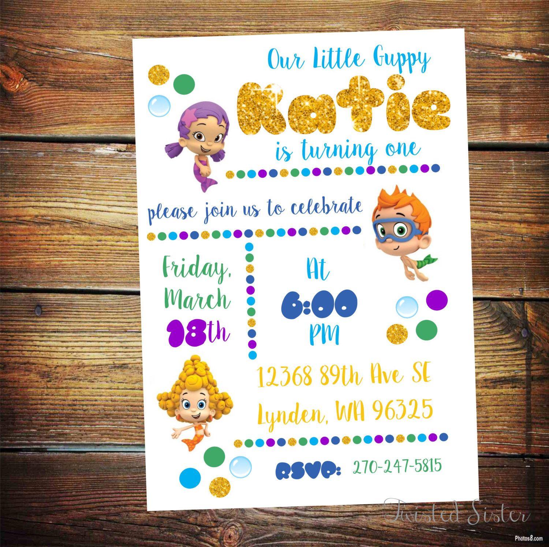 Bubble Guppies Invitation, Bubble Guppies Birthday Invite, Bubble ...