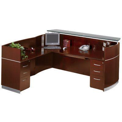 Mayline Napoli Series L-Shape Reception Desk Color Sierra Cherry