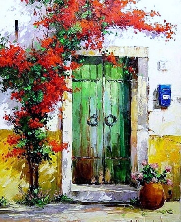 Green door. & Giclee print of Italian ArchitectureOil Painting Palette KNIFE ...