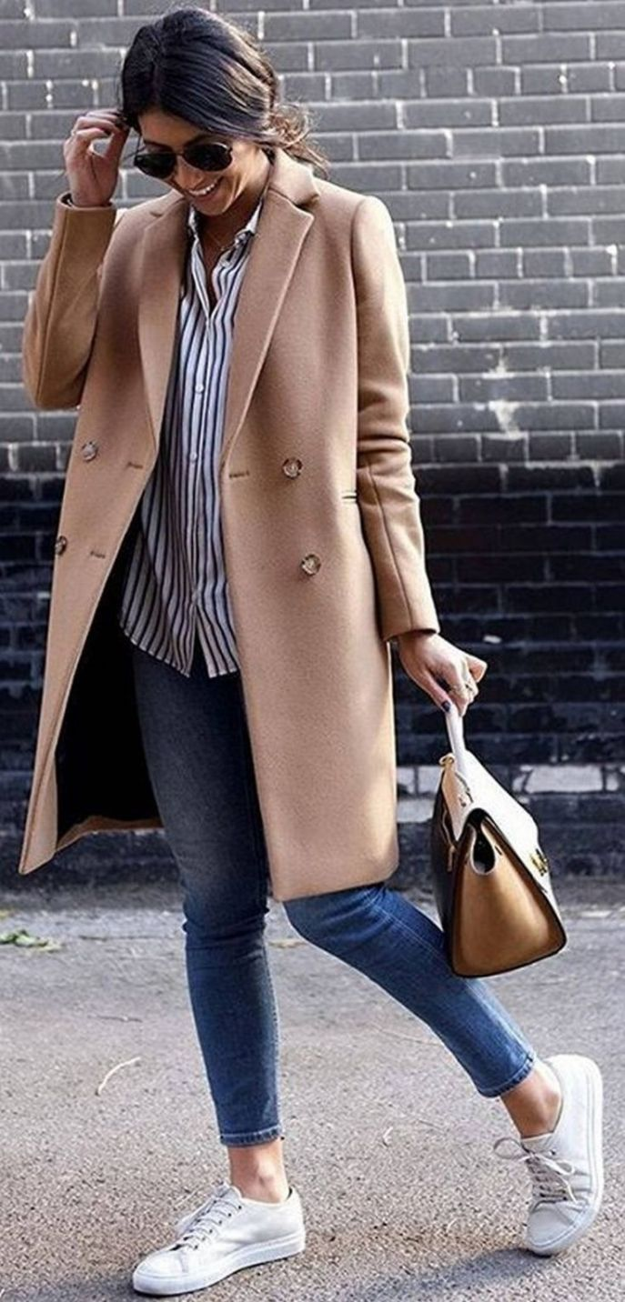 Cool Outfit Idea With A Sneakers Bag Plus Skinnies Plus Shirt Plus Nude Coat